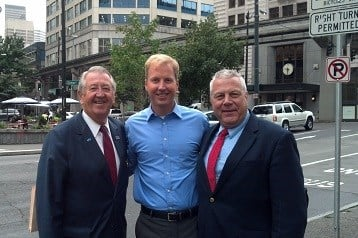 KTTC's Tom Overlie with Rochester Mayor Ardell Brede and County Commissioner Jim Bier